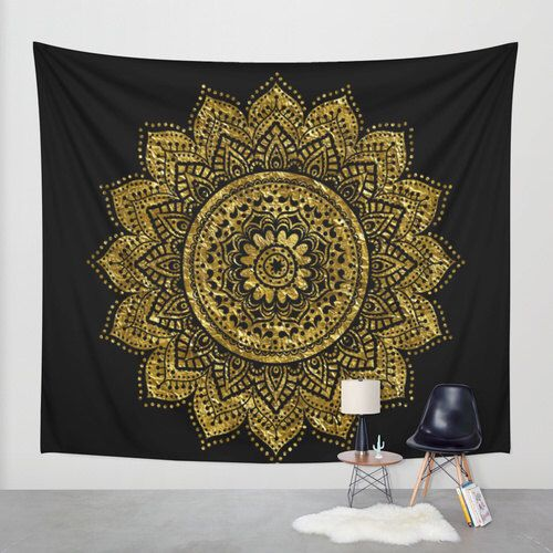 Black And Gold Mandala Wall Tapestry Decoration Dorm Decor Mandalas