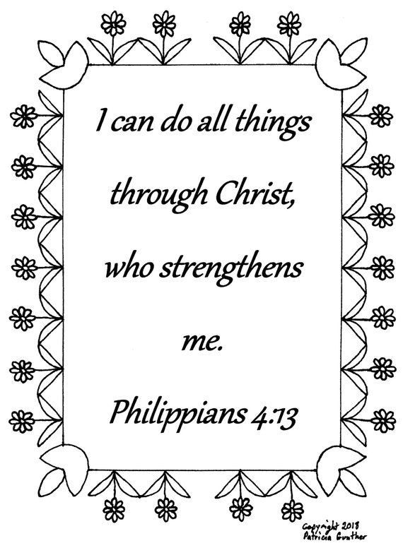 I Can Do All Things Philippians 4 13 Bible Verse Coloring Page