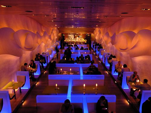The futuristic interior of morimoto restaurant i will