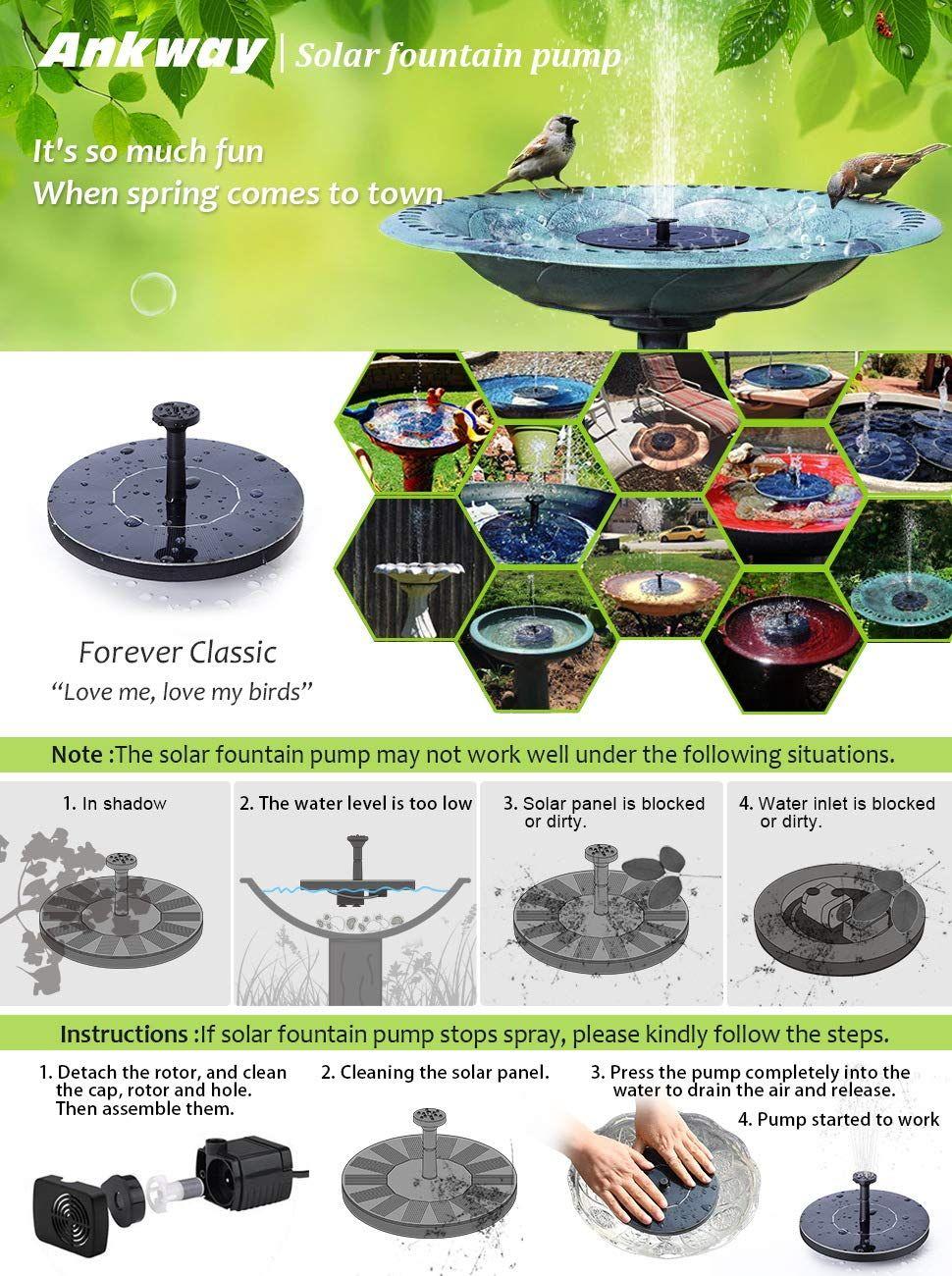 Amazon com : Ankway Solar Bird Bath Fountain Pump, 1 4W Free