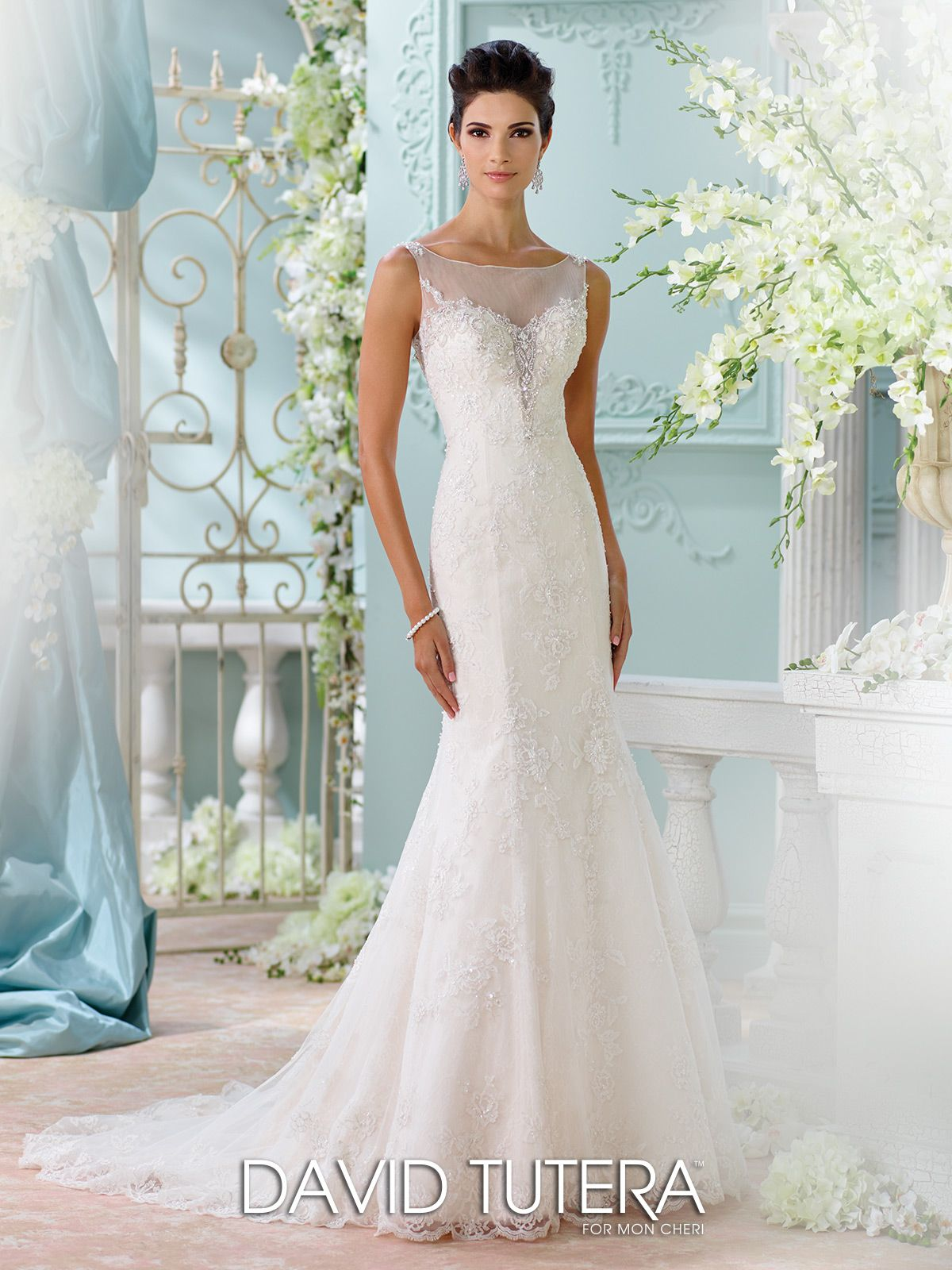 illusion beaded neckline fit flare lace wedding dress