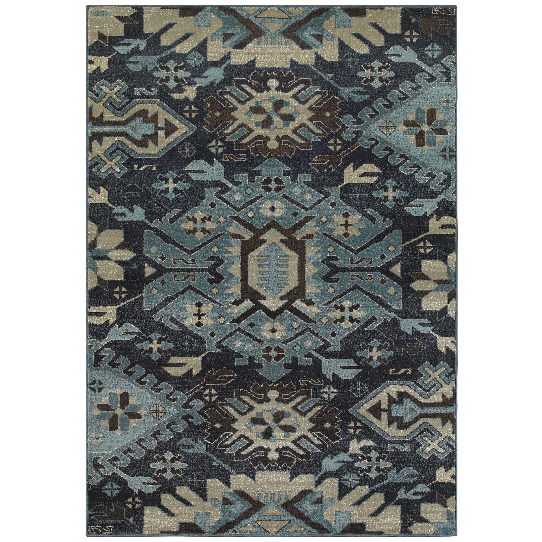 Style haven tribal blues navy blue area rug 110 x 3 110x3 size 2 x 4 polypropylene southwestern