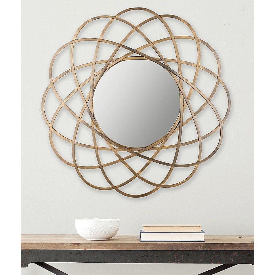 Safavieh Galaxy 32 Inch Round Mirror In Gold Bed Bath Beyond Mirror Wall Living Room Mirror Decor Mirror Wall
