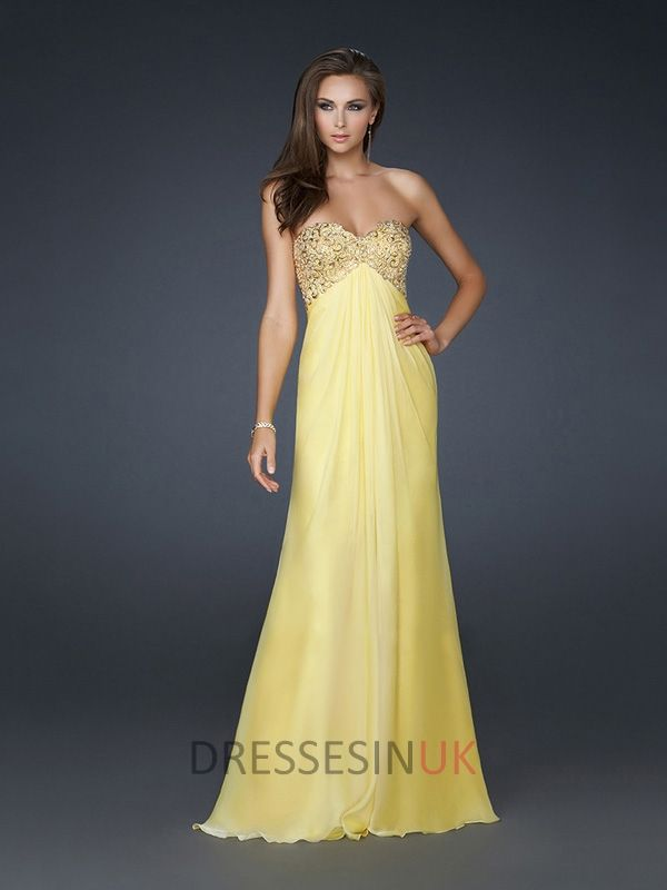 Glamourous Strapless Beaded Sweetheart Gathered A-line Floor Length ...