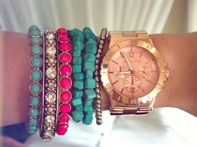 Layered bangles, bracelets and a rose gold watch! Perfect!