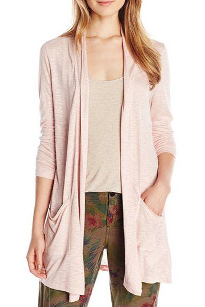 Casual Collarless Long Sleeve Solid Color Pocket Design Cardigan For Women