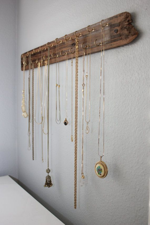 Necklace Organizer Made With Reclaimed Wood + Hooks for Jewelry - 24 Long Jewelry Display