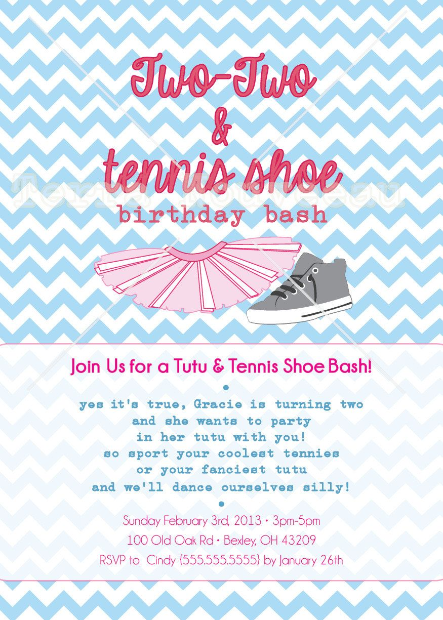 Tutu and Tennis Shoe Birthday Party Printable by TerraNouveauChic – Shoe Party Invitations