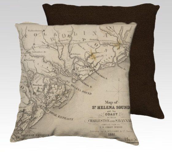 Savannah To Charleston Decorative Throw Pillow Antique Map Nautical Chart St Helena Sound Coastal Lowcountry Decorative Throw Pillows Throw Pillows Boat Decor