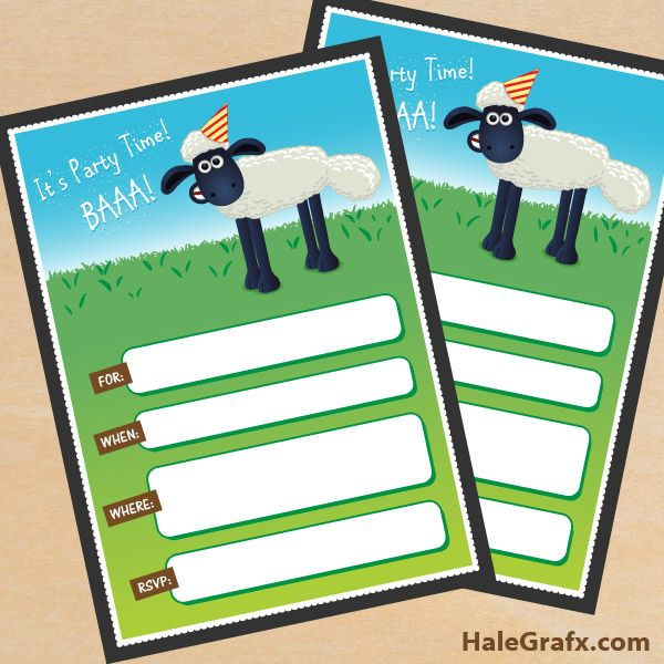 FREE Printable Shaun the Sheep Birthday Invitation – Shaun the Sheep Birthday Card