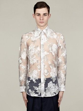 539fd1c7f42 J.W. Anderson Men's White Placement Floral Sheer Shirt - oki-ni ...