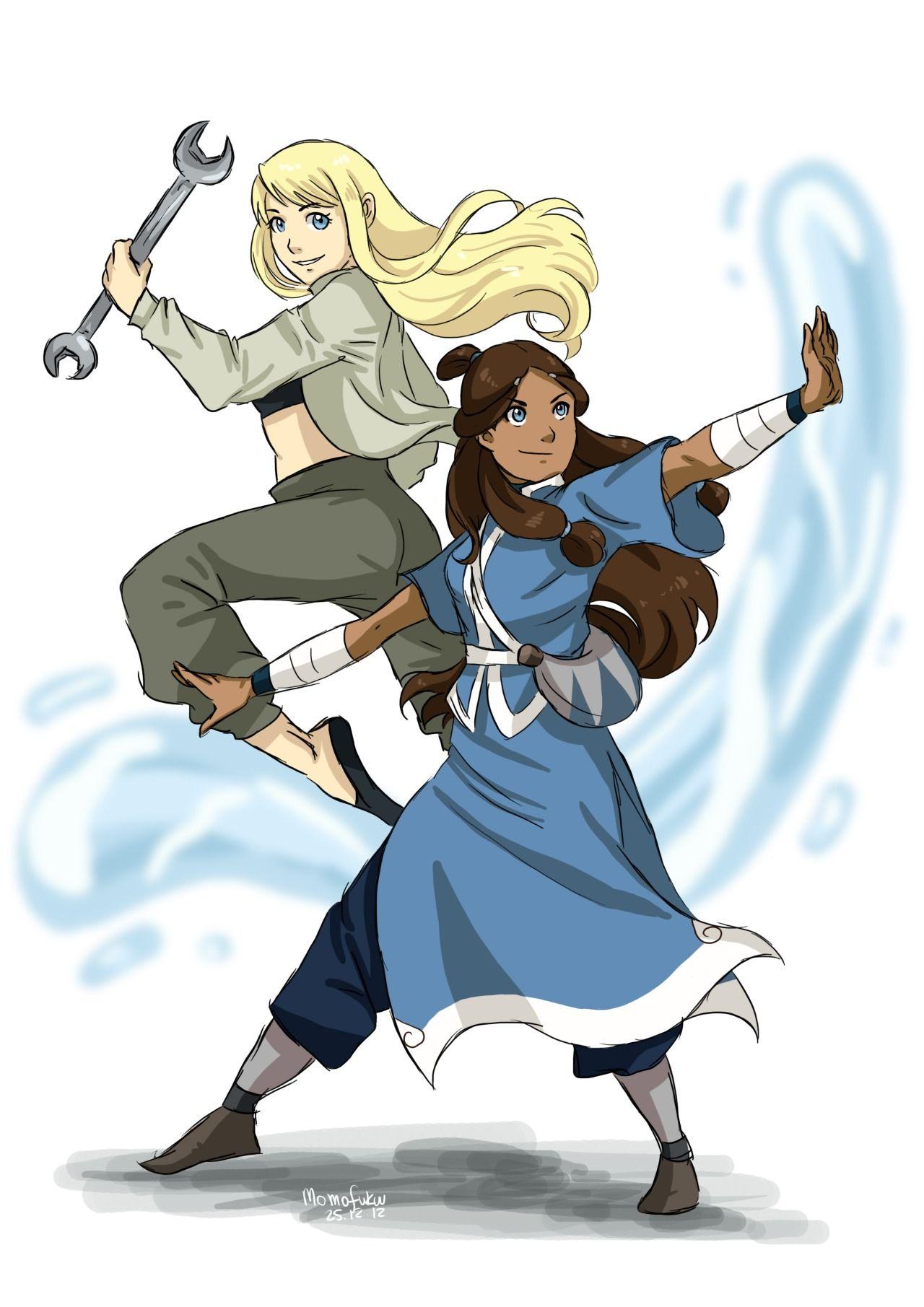 Winry Rockbell and Katara by themomofukuu Anime