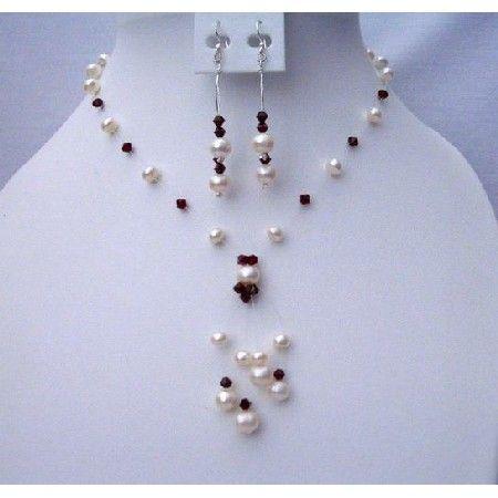 Handmade Swarovski Dark Siam Red Crystals Freshwater Pearls