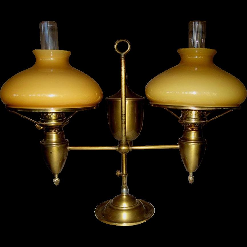 Double Student Oil Lamp Miller/John Wanamaker   Never Electrified