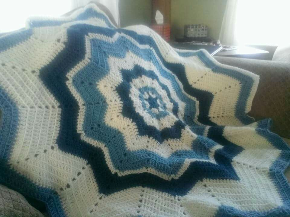 Crochet ripple in the round baby blanket.