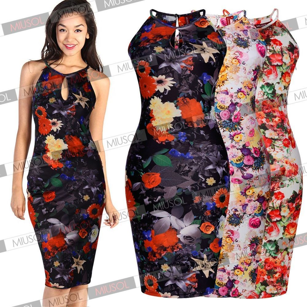 Women Sexy Hawaiian Floral Print Casual Boho Cocktail Party Wedding ...