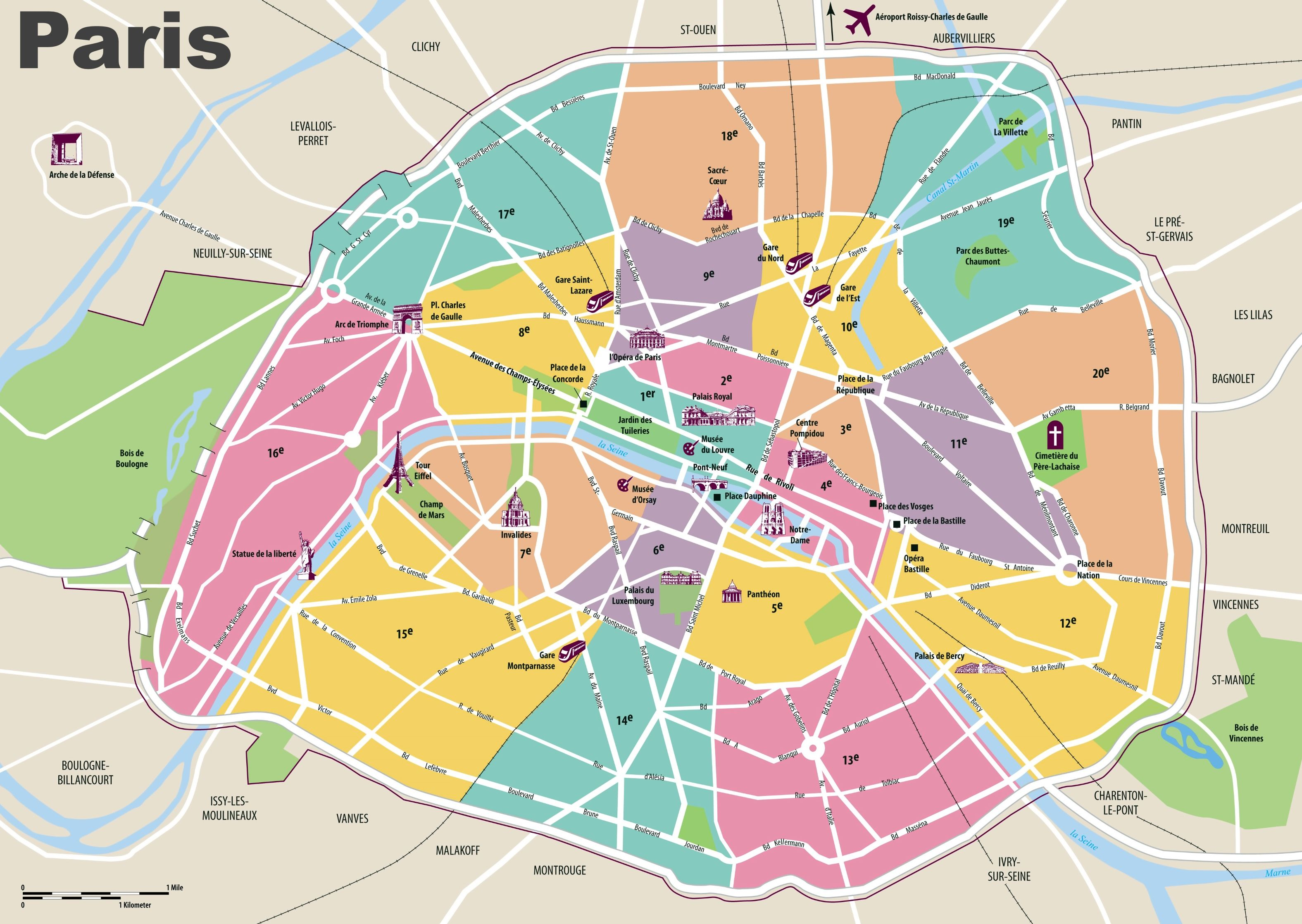 Map Of France Tourist Attractions.Paris Travel Map With Tourist Attractions And Arrondissements