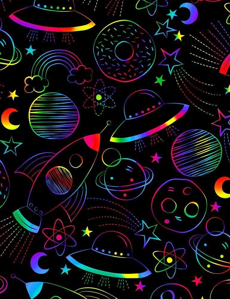 Timeless Treasures - Drawn Rainbow Silence Fun-C7433-Black - Cotton Woven Fabric