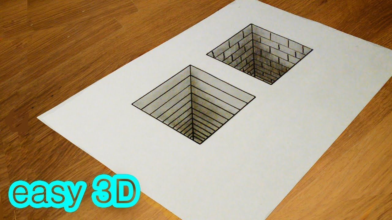 3d Drawing Easy Simple 3d Drawing Illusion Hole Youtube In