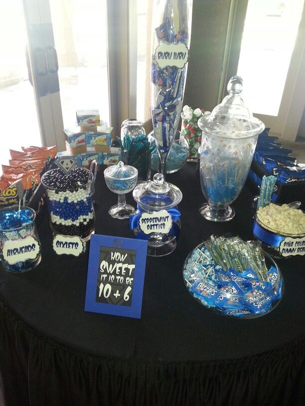 Black Blue Silver Candy Buffet Black Party Decorations Blue Party Themes Silver Candy Buffet