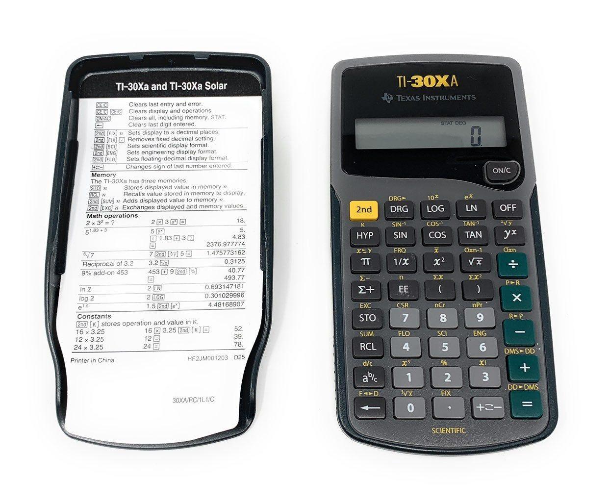 Texas Instruments Ti 30xa Scientific Calculator With Case Manual Quick Use Guide Scientific Calculator Graphing Calculator Calculator