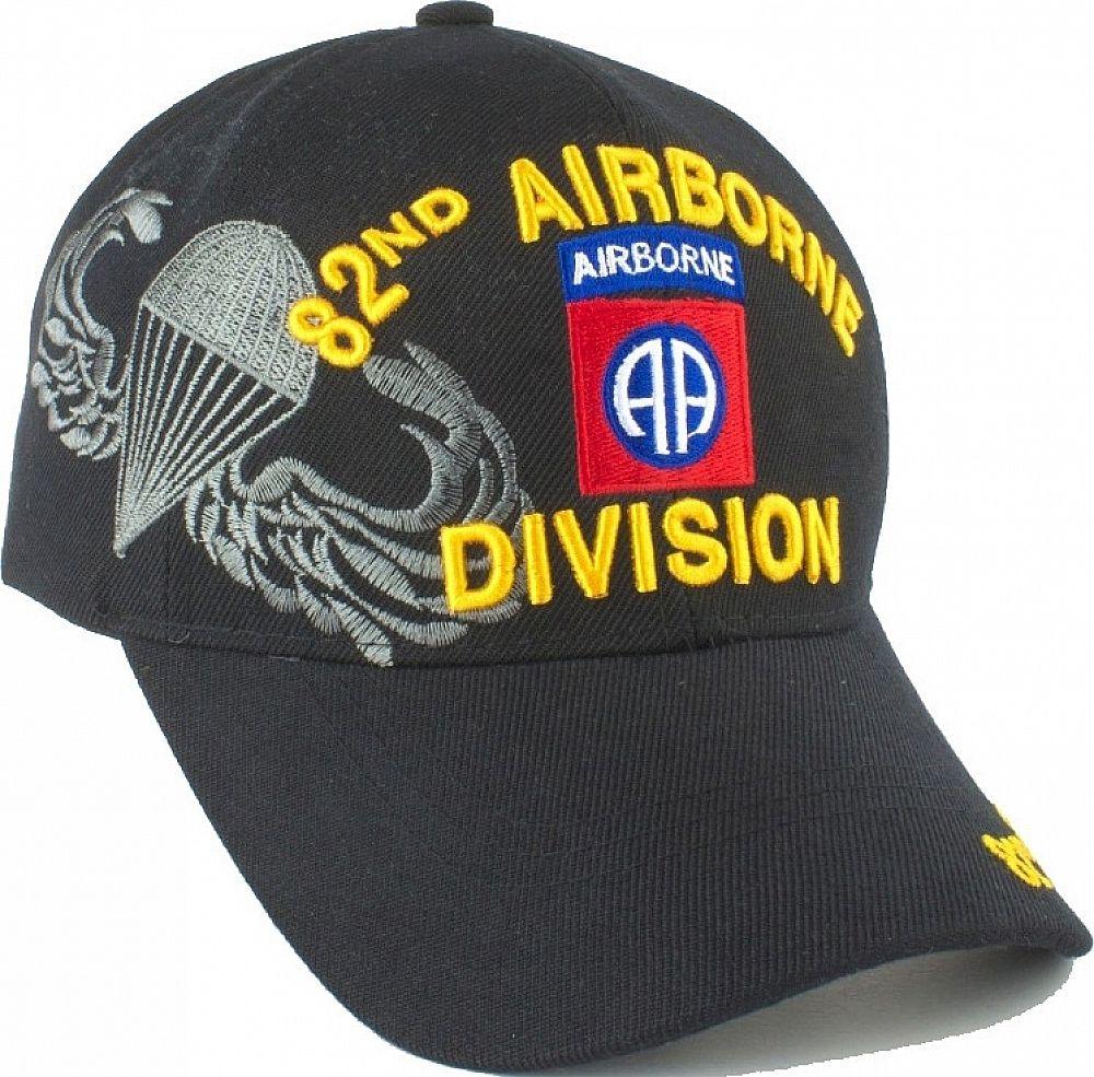 99014481c 82nd Airborne Division Parachute Wings Shadow Mens Cap [Black ...