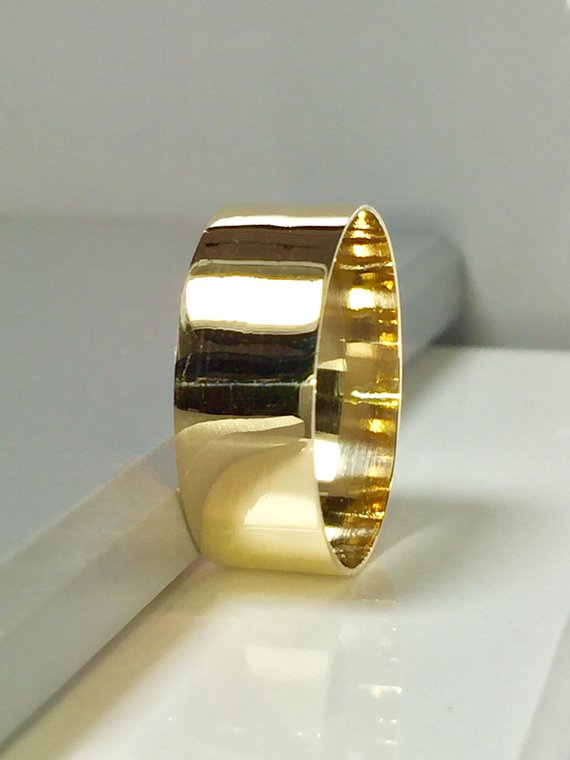 Big Sale 14k 10k Solid Gold Cigar Bands Women Gold Ring Gold Wedding Band Gold Thumb Rings 1 Gold Cigar Band Gold Thumb Rings Gold Pinky Ring