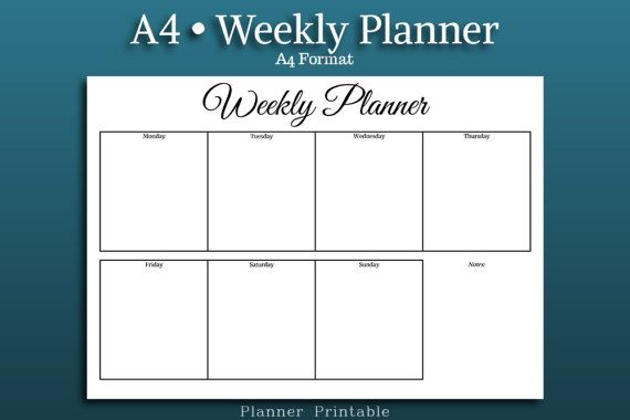 WEEKLY PLANNER Template A4 Size Printable pdf A4 weekly planner - daily timetable template