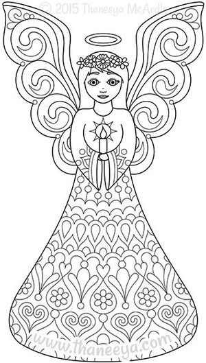 Color Christmas Coloring Book Angel by Thaneeya | Navidad ...
