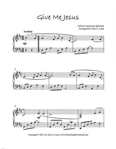 Give Me Jesus Free Piano Hymn Arrangement To Print From Piano