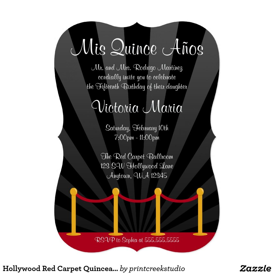 Hollywood Red Carpet Quinceanera Party Card | 18 Gabry | Pinterest ...