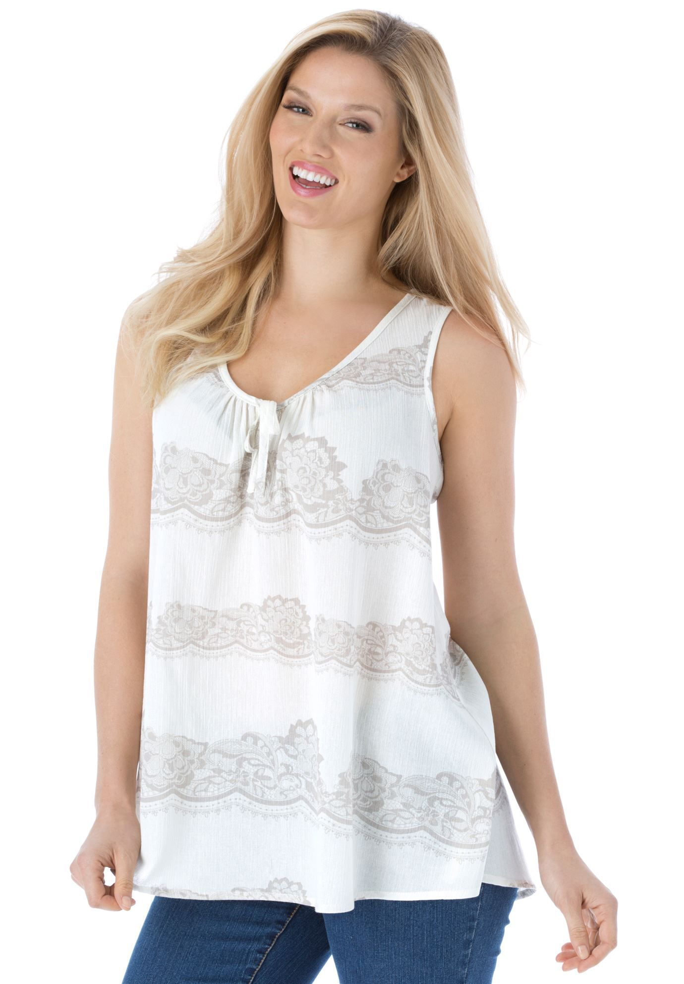 eff07564b0ccb7 Your favorite summer gauze fabric now comes in a pretty plus size peasant  tank top. Fabulous soft colors combine with soft cotton for day-long ease  with ...