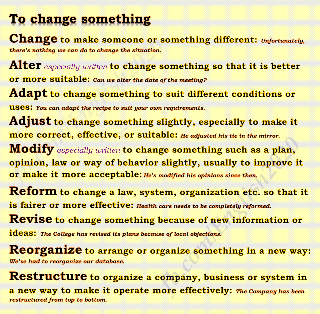 Synonyms to change something learnenglish Learn