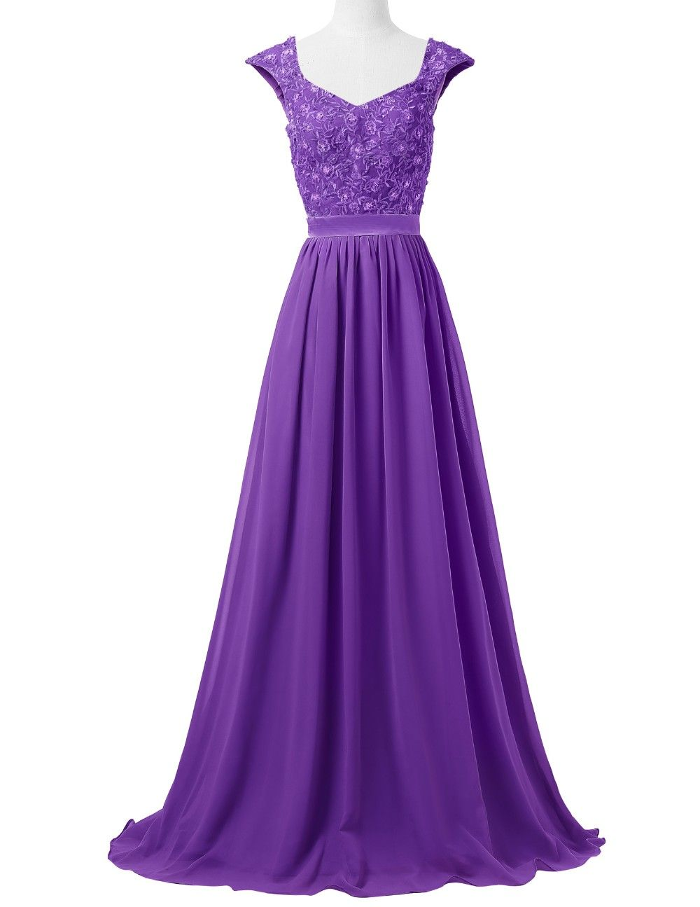 Sleeveless Lace Chiffon Long Formal Bridesmaid Dress - Uniqistic.com ...