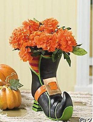 Cute Witch\u0027s Boot Planter Fun Halloween Decoration ~NEW~ eBay - cute easy halloween decorations
