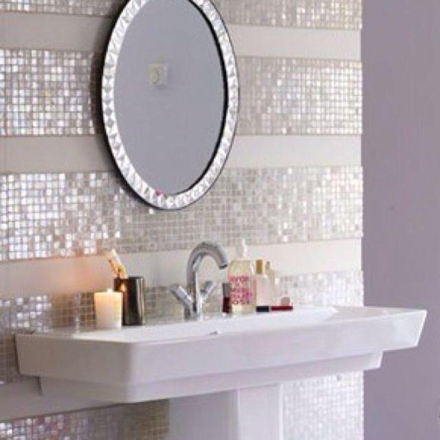Striped Tiled Wall Girls Bathroom Bathroom Decor Home