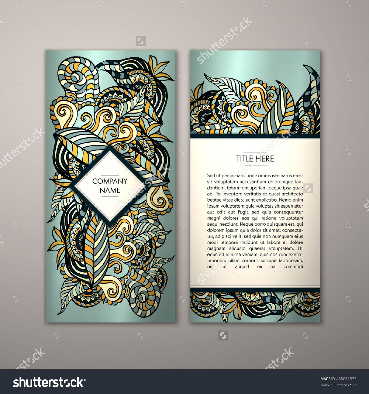 flyer template with abstract ornament pattern vector greeting card design front page and back page 465062873 shutterstock