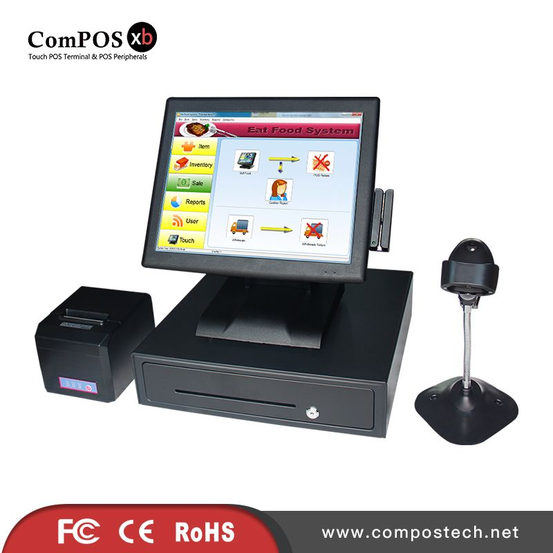 A Completely Set Of 15 Inch Pos Touch Screen System Pos Terminal Pos System For Lottery Affiliate Computer All In One Liquor Store Computer Peripherals