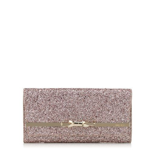 Lydia Accessory Clutch Bag in Tea Rose Metallic Coarse Glitter Fabric with  Metal Bow Bar. Find this Pin and more on Jimmy Choo ...