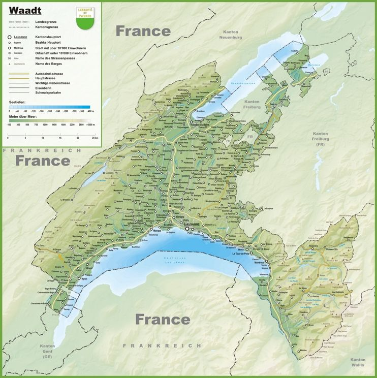Canton of Vaud map with cities and towns Maps Pinterest