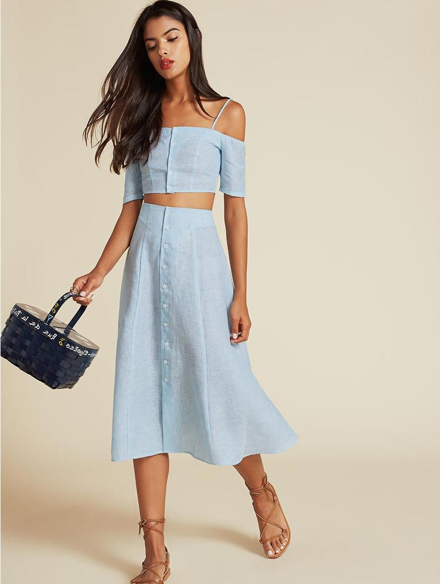 55a6393dd7 Ava two piece// #dress #blue #stripe #ColdShoulder #TwoPiece #fashion #style  #stylish #RefBabe #reformation @reformation