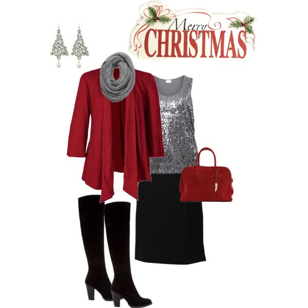 Plus Size Christmas Outfit - I have most of these pieces, never thought of  putting them together. - Plus Size Christmas Outfit Fashion. Ideas Pinterest Outfits
