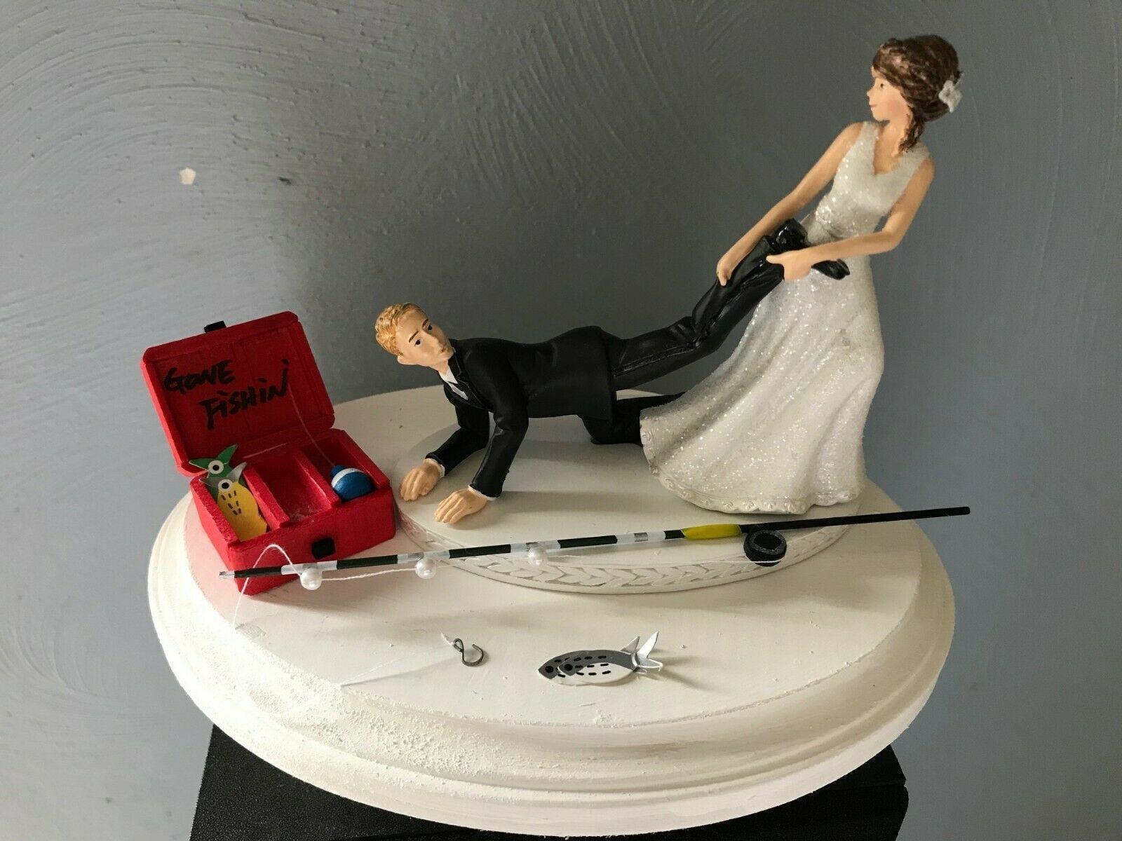 Cake topper wedding bridal bride groom going gone fishing