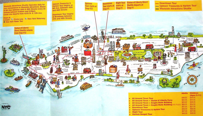 Download Map Of New York City Landmarks Major Tourist Remarkable