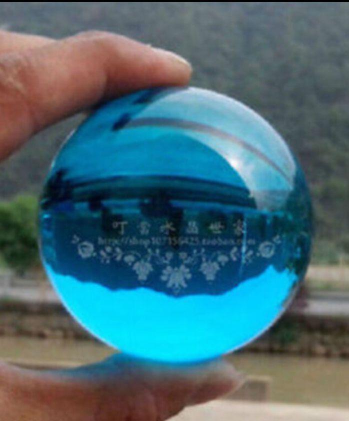 Asian Rare Lake Blue Magic Crystal Ball Sphere 40mm+Stand YU12