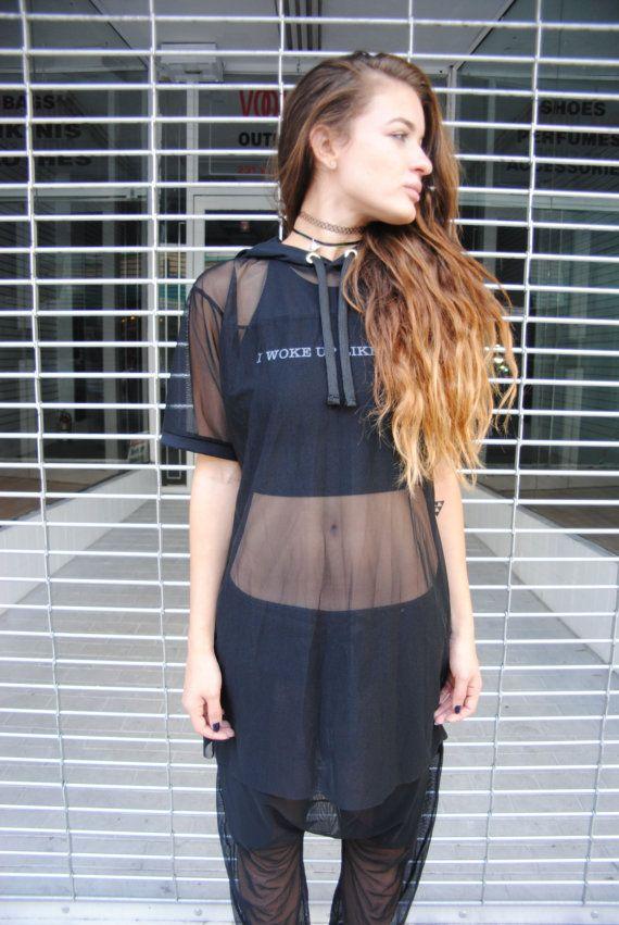 Womens Black or White Mesh Short Sleeve Hoodie Top / Mesh Dress ...