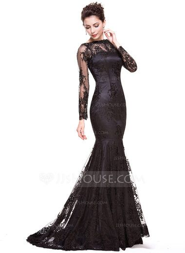 214f23ad Trumpet/Mermaid Off-the-Shoulder Sweep Train Lace Evening Dress (017066941)  - JJsHouse