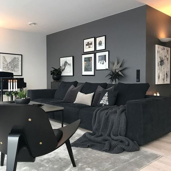 Black Living Room: 20+ Sophisticated Stylish Ideas with Unique Decor | Famedecor.com