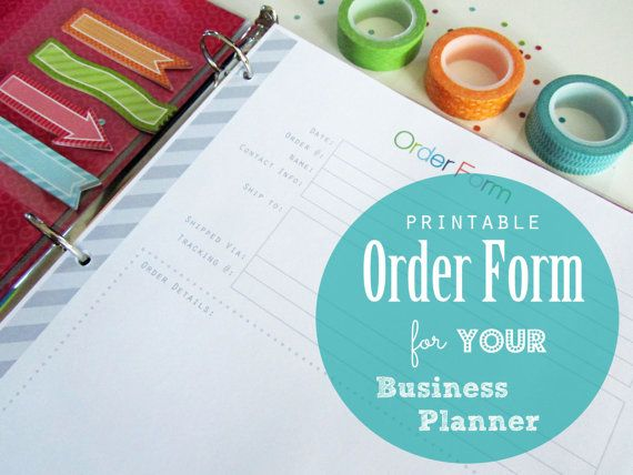 Etsy Small Business Order Form PDF Printable Planner Page - business order form