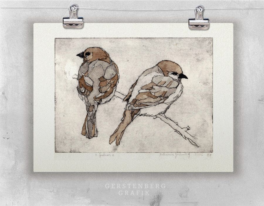 Original etching two sparrows fine art etching bird print bird original etching two sparrows fine art etching bird print bird art sparrows altavistaventures Choice Image